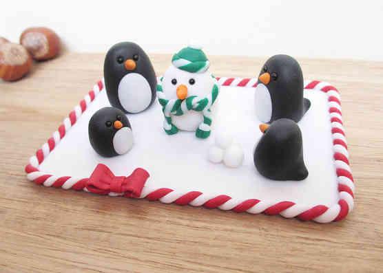 Penguin Christmas cake topper