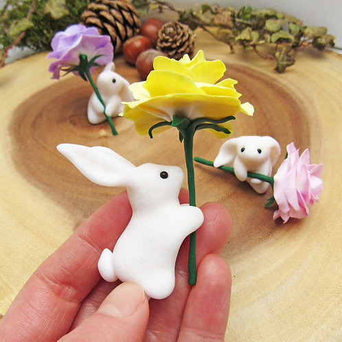 Mountain hare ornaments with pastel roses