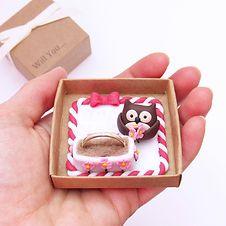 Handmade Animal Engagement Ring Box with Owl Keepsake Ring Holder