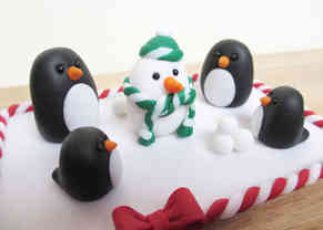 Penguin Christmas cake decoration