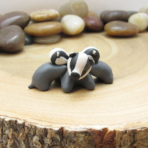 Tiny badger family ornament