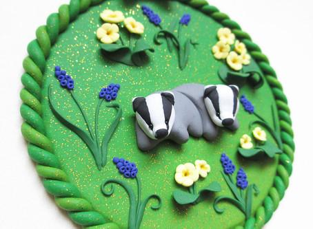 Baby badgers in primroses
