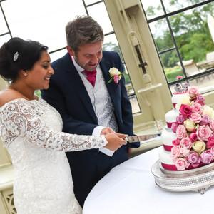 Elephant wedding cake being cut