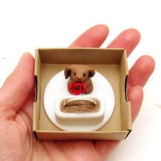 Handmade Engagement Ring Box with Hare Keepsake Ring Holder