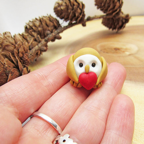 Tiny barn owl ornament with Valentine's heart