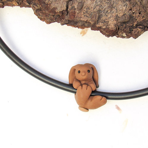 Brown hare jewellery - choker necklace