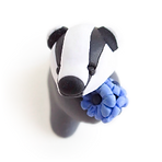 Badger ornament with blue flowers