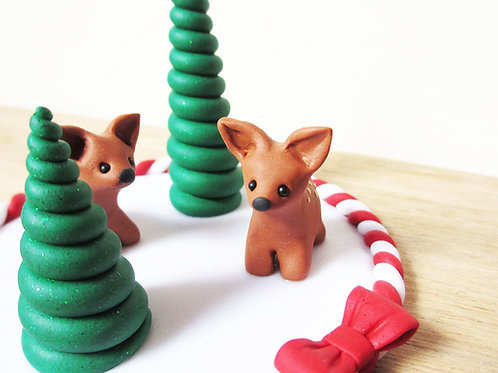 Deer Christmas cake decoration