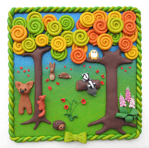 Woodland wildlife wall plaque