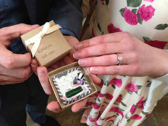 Engagment ring box with cute badger