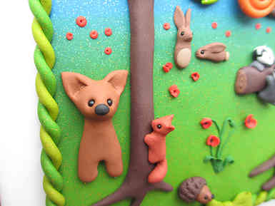 Woodland 3D picture with deer, red squirrel and hedgehog