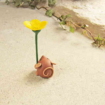 Tiny mouse miniature ornament with yellow buttercup