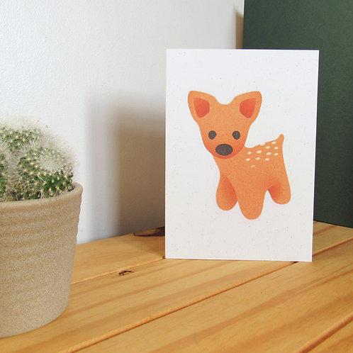 Deer recycled greetings card