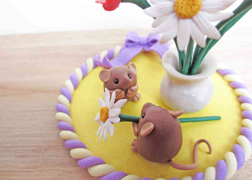 Mice keepsake cake topper