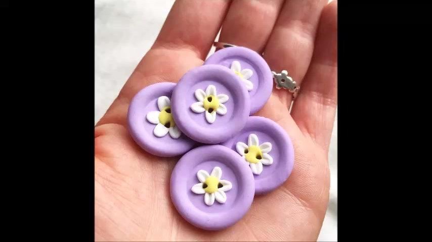 Polymer clay flower button tutorial
