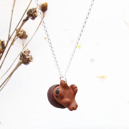 Handmade hedgehog necklace