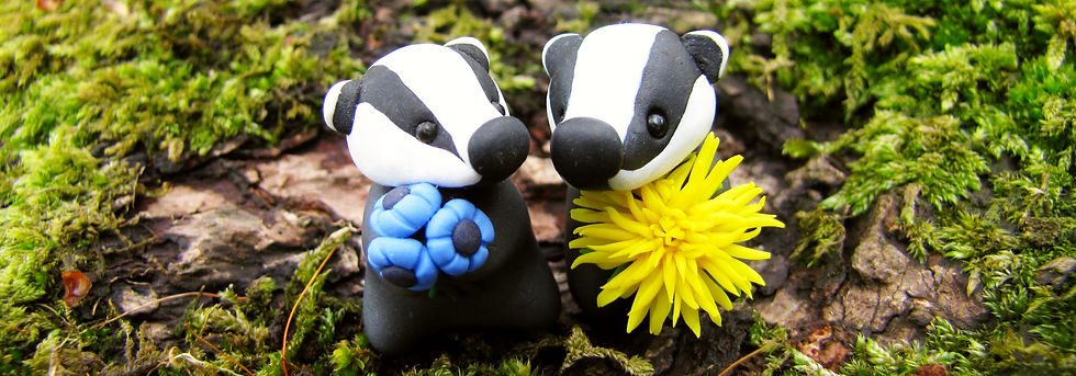 Tiny badgers with flowers