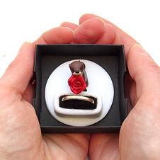 Handmade Engagement Ring Box with Otter Keepsake Ring Holder