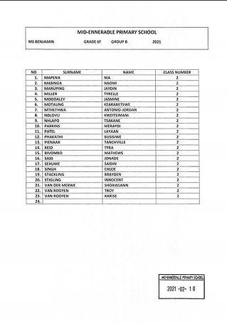 Grade 6F Group B