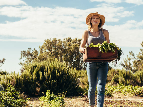 Woman outside walking with box of vegetables