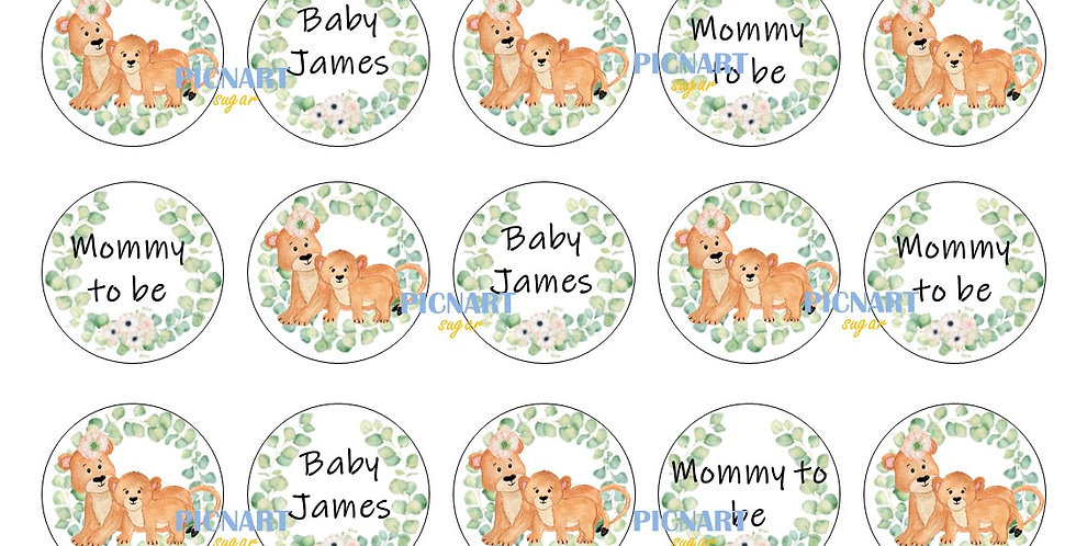 Mom and Baby Lion edible icing paper cupcake toppers Baby shower cup