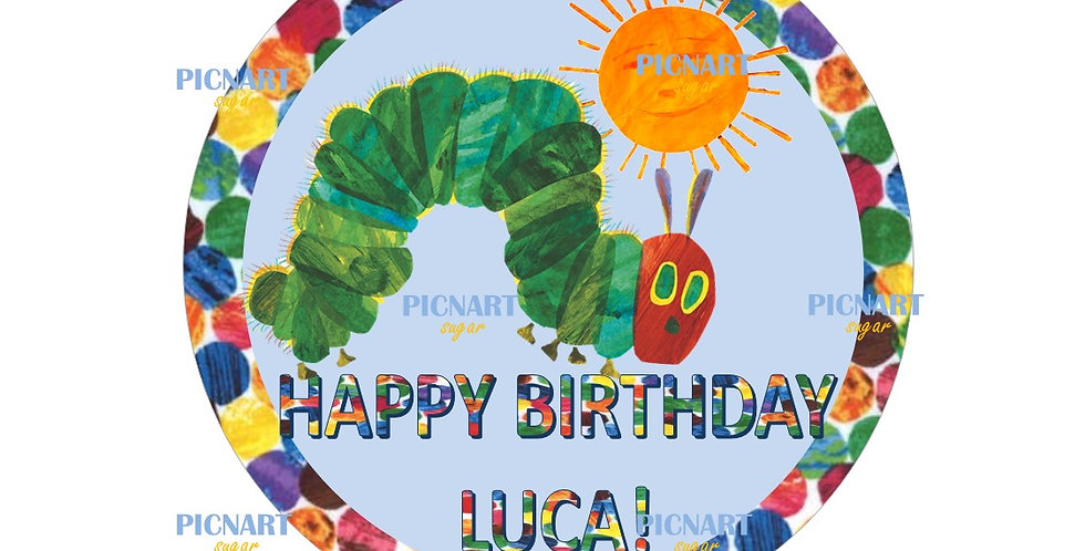 The very hungry caterpillar inspired edible icing paper cupcake toppers