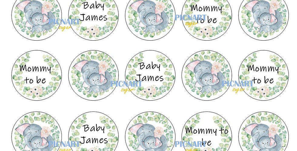 Mom and Baby Elephant edible icing paper cupcake toppers Baby shower cupcake top