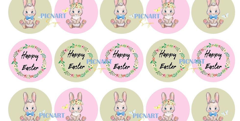 Easter edible icing paper cupcake toppers