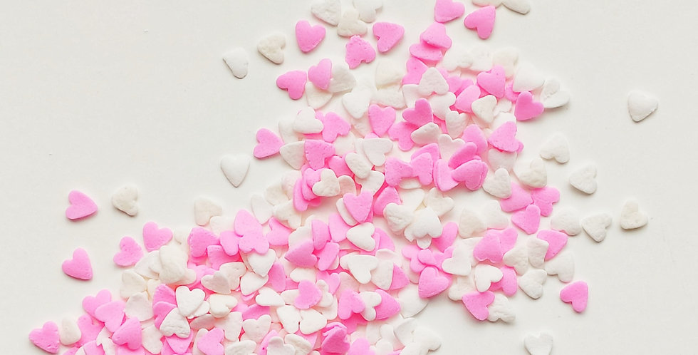 Pink and White Hearts Confetti Blend