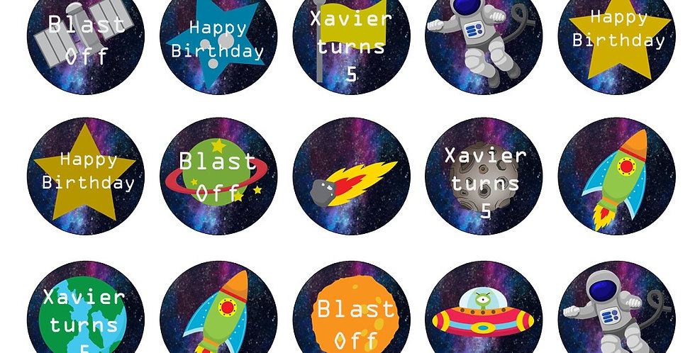 Personalised Space, Solar System Themed Edible Icing Paper Pre Cut Cupcake Toppe