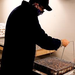OneLight employee dips a rack full of fire starter into a wax tank