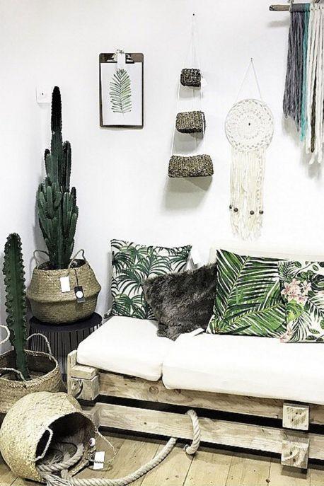 Tendance bohème et naturel pour votre décoration, imprimés jungle, paniers...