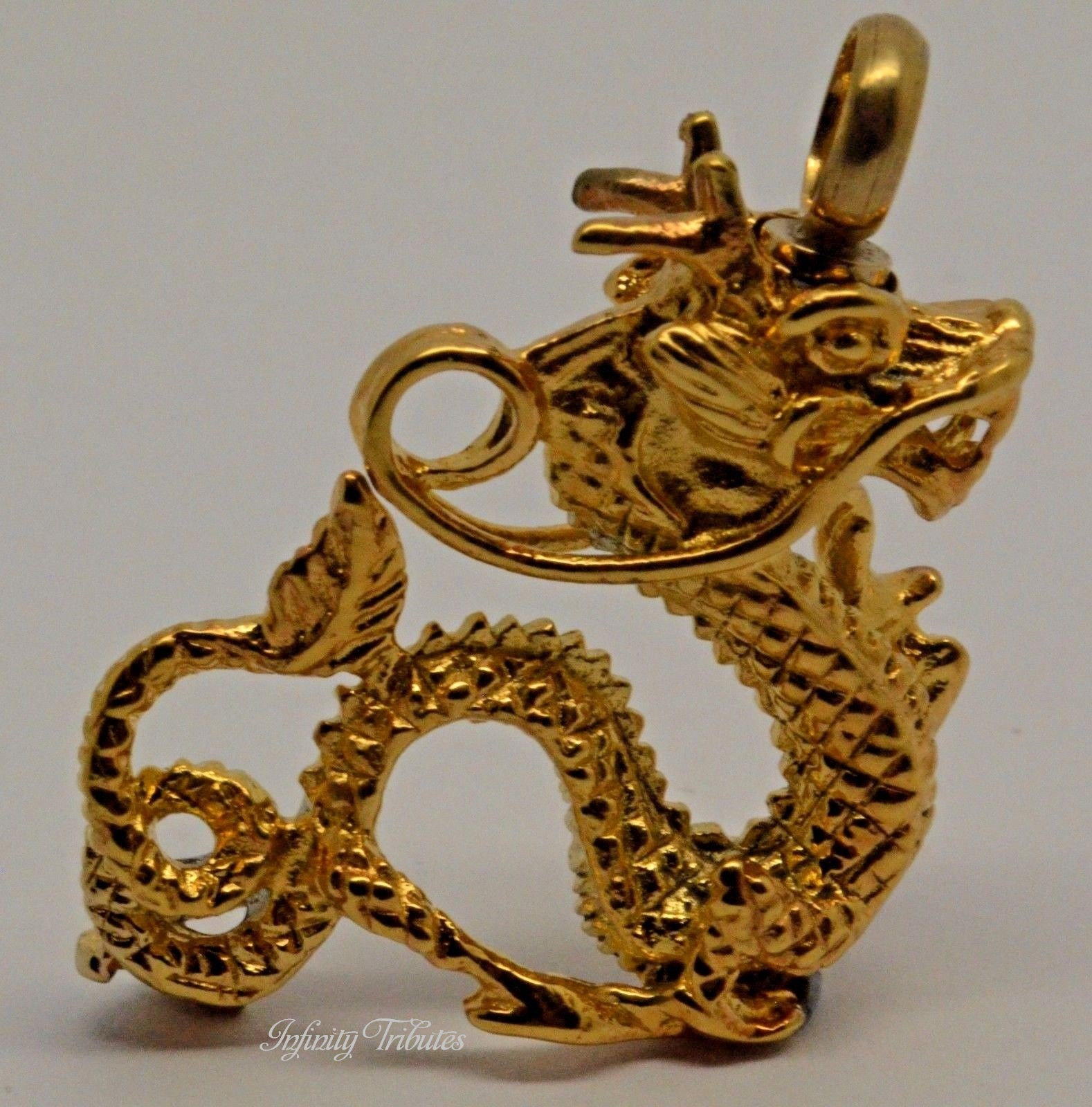 24k GOLD PLATED DRAGON CREMATION URN KEEPSAKE PENDANT NECKLACE ASH CHARM
