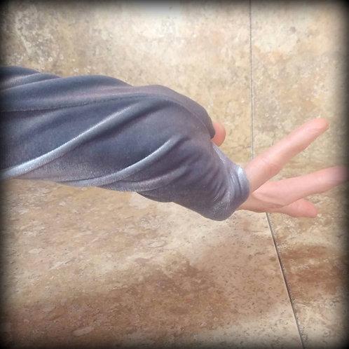 Silver Fingerless Gloves in stretch Velvet