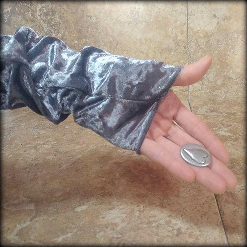 Pewter Fingerless Gloves in crushed stretch Velvet