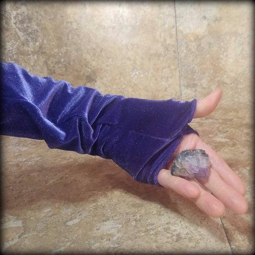 Purple Fingerless Gloves in stretch Velvet