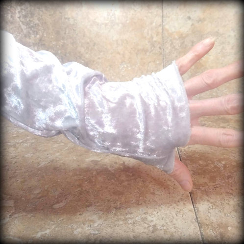 Silver Cloud Fingerless Gloves in crushed stretch Velvet