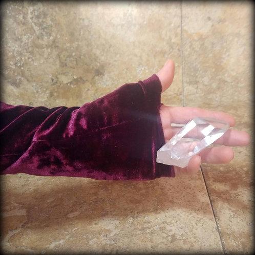Claret Fingerless Gloves in crushed stretch Velvet