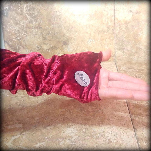 Ruby Fingerless Gloves in crushed stretch Velvet