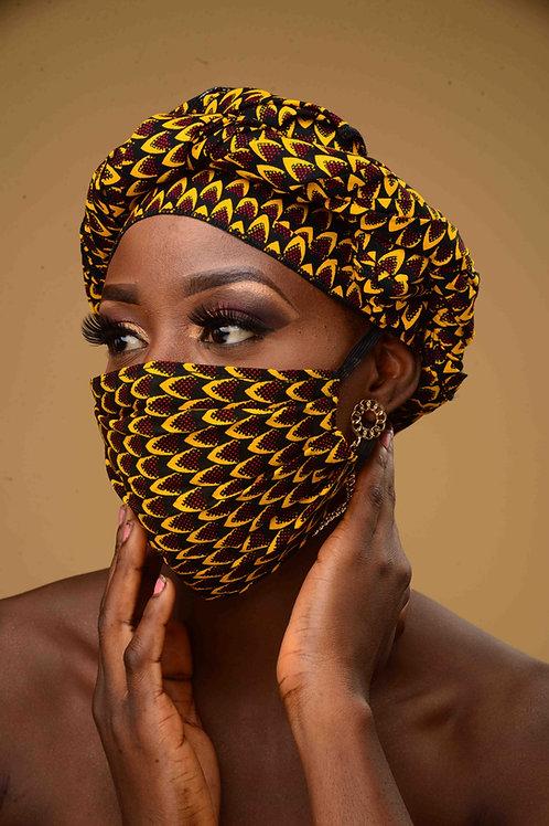 Ankara Print Headwrap and Face Mask Set