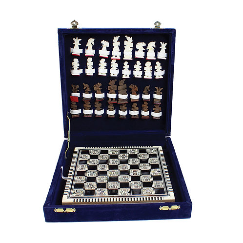 Egyptian Mother Of Pearl Chess Set