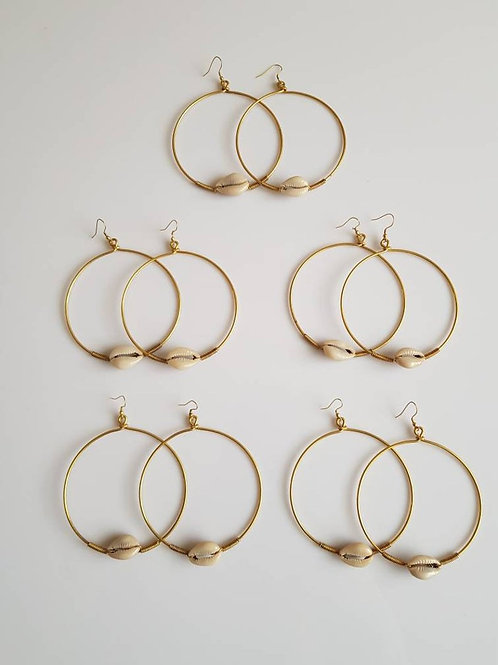 African Brass Cowrie Shell Hoop Earrings