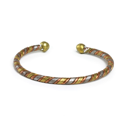 3-Tone Metal Twist Bracelet