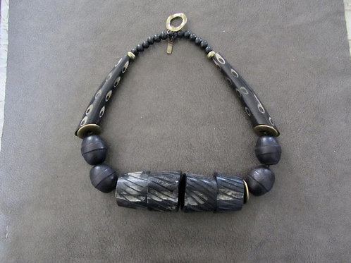 African Blackwood, Resin, Bone, Brass, and Beaded Tribal Necklace