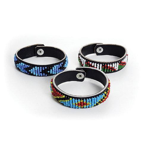Kenyan Beaded Leather Bracelet
