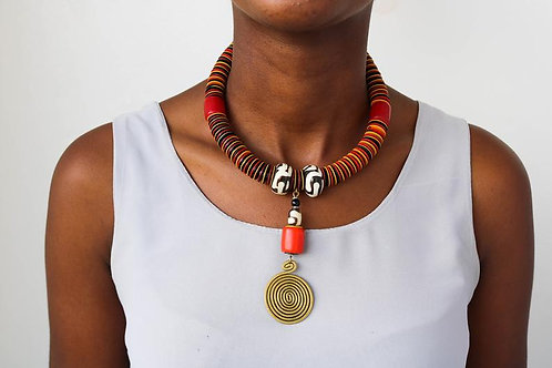 African Brass and Coconut Bead Necklace