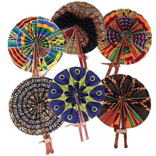 Ghanaian Tribal Print Leather Folding Fan