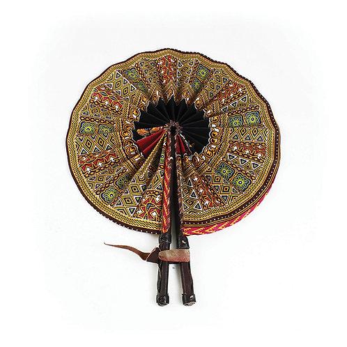 Kenyan Tribal Print Leather Folding Fan
