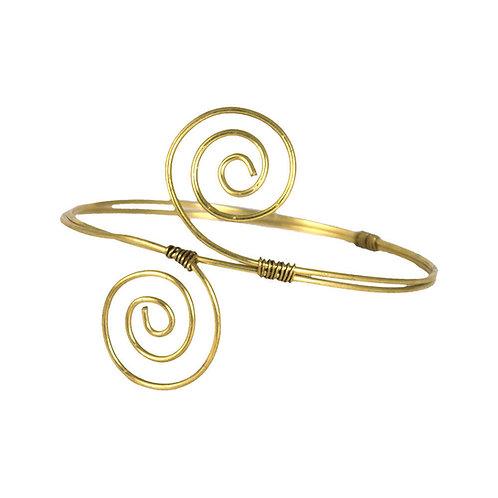 Solid African Brass Spiral Arm Bracelet (Arm Cuff)