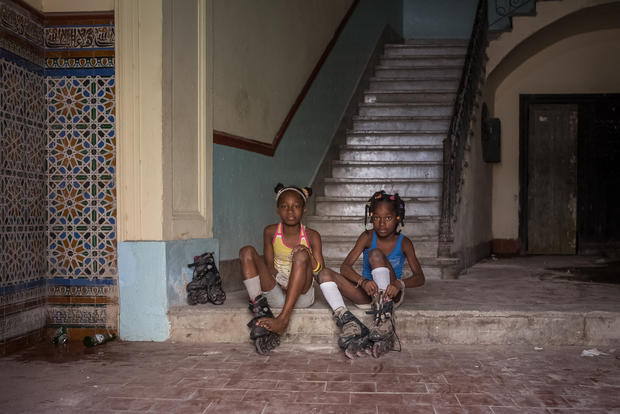 Getting ready to rollerblade, in Havana
